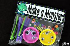 Make a Monster is the perfect candy-free Halloween gift. This activity is great for toddlers, preschoolers, and kindergarten and first grade students. Halloween Crafts For Kids, Halloween Activities, Fun Crafts For Kids, Halloween Gifts, Gifts For Kids, Halloween Ideas, Halloween Games For Preschoolers, Halloween Designs, Halloween Snacks