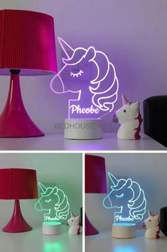 Our personalised unicorn night light is the must have unicorn gift and a perfect Children's light! Who doesn't love unicorns? This adorable unicorn night lamp can be personalised for FREE!