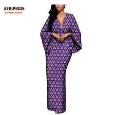 African Batik Flare Sleeve V-Neck Dress