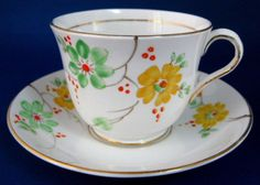 Cup And Saucer Phoenix Art Deco Painted Blossoms