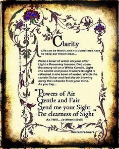 The world is full of magic Clarity Spell for clarity and might Wicca Witchcraft, Magick Spells, Healing Spells, Wiccan Witch, Wiccan Rituals, Hoodoo Spells, Jar Spells, Luck Spells, Green Witchcraft