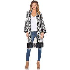 GLAMOROUS Fringe Kimono Jackets & Coats ($138) ❤ liked on Polyvore featuring outerwear, coats, other outerwear, fringe coat, kimono coat and fringe kimono
