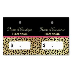 Pink Gold Cheetah Print Beauty Boutique Hang Tags Double-Sided Standard Business Cards (Pack Of Make your own business card with this great design. All you need is to add your info to this template. Click the image to try it out! Boutique Names, Elegant Business Cards, Beauty Boutique, Hang Tags, Cheetah Print, Pink And Gold, Make Your Own, Things To Come, Packing