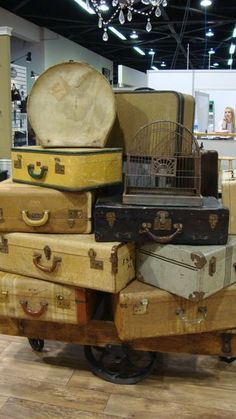 Suitcases used to add height and different display surfaces. Use in a craft fair booth or replace your craft fair table with stacks of suitcases. They double as containers to transport stock.