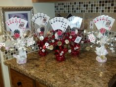 How to throw a casino night party. purchase cards and poker chips.party fun casino nights and table hire. Casino Themed Centerpieces, Casino Party Decorations, Casino Theme Parties, Music Centerpieces, Stage Decorations, 21st Birthday Centerpieces, Grad Parties, Casino Royale, Fète Casino