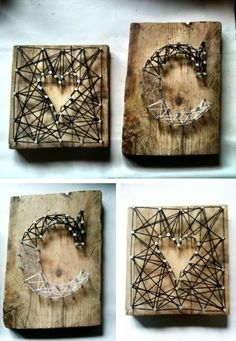 hammer nails into wood creating a shape then string around nails