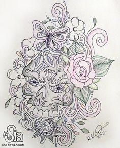 Art by Sia | Sugar Skull Tattoo Design | 2012 | Sharpie and colored pencil | artbysia.com