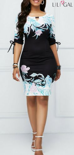 Tie Sleeve Keyhole Neckline Printed Sheath Dress #liligal #dresses #womenswear #womensfashion