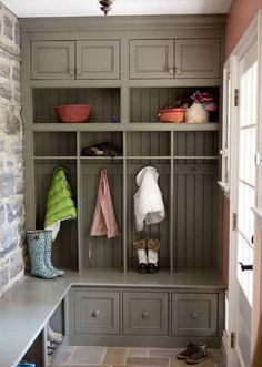 Cubbies, shelves and drawers like these without dividers. Also use wainscoting on the wall.