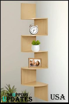 5 tier wall mount corner shelves Made of durable MDF laminate. Beautiful espresso finish that suits almost any decor. Easy to mount with all necessary hardware Included. Decorative and functional for your home, office, or dorm room. Corner Shelf Design, Wall Mounted Corner Shelves, Wall Shelves Design, Book Shelves, Corner Shelves Living Room, Wall Mounted Tv Unit, Shadow Box Shelves, Diy Corner Shelf, Unique Wall Shelves
