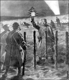 Truce: A German soldier approaches the British lines on Christmas Eve 1914 Lines On Christmas, Christmas Truce, A Christmas Story, Kids Christmas, Ww1 History, Jesus Birthday, World War I, Places Around The World, Wwi
