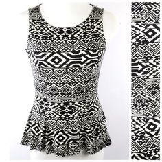 """Black White Tribal Print Stretch Peplum Top Large Geometric Shape Blouse  Size  Large  This is a really fun top.  Lightweight and perfect for spring and summer.  Asymmetrical hemline.  Soft fabric made from 95% polyester, 5% spandex.  Lots of stretch to this top for a perfect and comfortable fit.  Please check my store for many more items.  All measurements are taken with garment laying flat.  Armpit to armpit up to 44""""  Length of garment in front 23""""  Length of garment in back 28"""" Manito…"""
