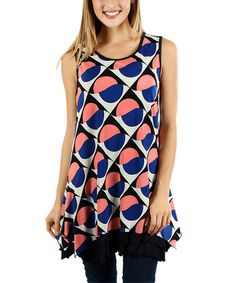 Loving this Blue & Coral Abstract Tunic on #zulily! #zulilyfinds