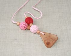 Wooden Teething necklace Nursing necklace for mom by NittoMiton