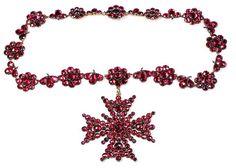 Georgian Era Foiled Garnet Necklace With Detachable Maltese Cross