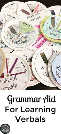 """Participles, Infinitives, and Gerunds...oh my!  Verbals can be difficult for students to understand and use.  This dyi verbal """"spinner"""" will help students identify and apply this tricky grammar concept to their own writing."""