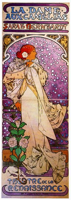 Art Nouveau Alphonse Mucha graphic of Sarah Bernhardt. My favorite part of this design is the hand holding the roses.