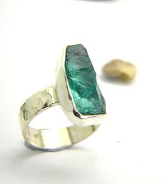 Apatite ring sterling silver rough raw hand made by nikiforosnelly, $60.00