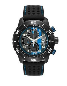 Citizen Mens Eco-Drive Men's Primo Chronograph in Black with Blue Acce