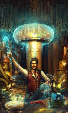 m Wizard LG Lab Tesla the Magician Urban City Tower Magic Item Creator Merchant from WIP Tarot of Brass & Steam Painted by Alex Boca The Magician Tarot, Nicolas Tesla, Male Witch, Tarot Major Arcana, Pulp, Steampunk Design, Oracle Cards, Sci Fi Art, Dieselpunk