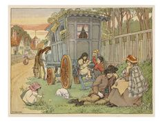 Gypsy Basket Makers and Menders Sit on a Grass Verge Beside their Caravan  Giclee Print
