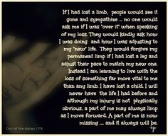 About child loss, but the description is definitely accurate with me losing my mom.