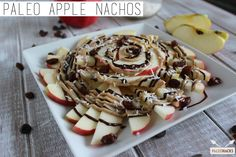 These Paleo Apple Nachos are perfect for as a snack, and sweet and refreshing appetizer, or even as a healthy and light dessert. Paleo Dessert, Paleo Sweets, Dessert Recipes, Snack Recipes, Healthy Treats, Healthy Desserts, Healthy Food, Healthy Eating, Apple Nachos