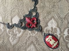 Bib Necklace Steampunk Fantasy Gothic Gypsy Tribal Pewter with Ivory on Red Cameo and Fleur di Lis by TinkersDaughter2015 on Etsy