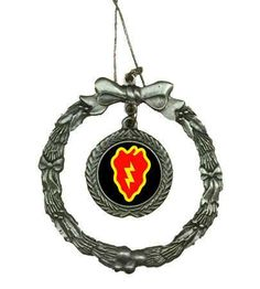If you need a unique gift for this holiday season then this beautifully detailed Pewter 25th Infantry Division Wreath Ornament is just that. All of Our Pewter Christmas Ornaments are 100% made in the USA. *Considered collectibles, ornaments are one of those things that are remembered & kept for a lifetime. Pewter is an attractive metal that was used in the ancient world by the Egyptians & later the Romans & British to make various household & everyday items.
