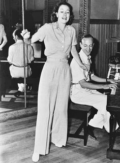 Fred Astaire and Eleanor Powell rehearsing for Broadway Melody of 1940.