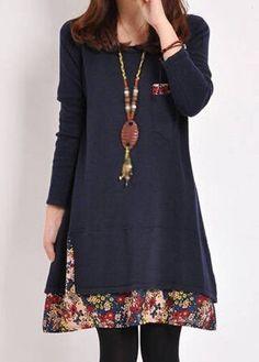 Floral Print Pocket Design Long Sleeve Dress - Street Fashion