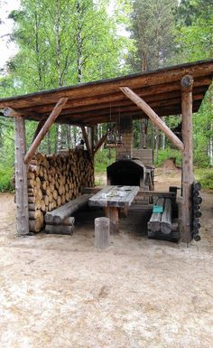 Outdoor Oven, Rustic Outdoor, Outdoor Fire, Outdoor Sheds, Outdoor Rooms, Outdoor Living, Outside Living, Outdoor Kitchen Design, Fire Pit Backyard