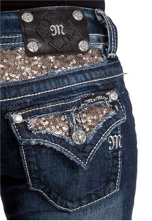 Miss Me Jeans Sequin Splendor Bootcut Sizes 25 - 34 JP5619B