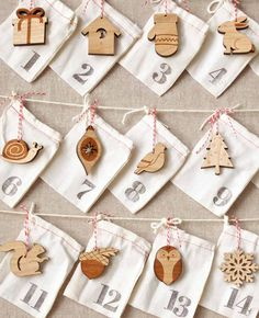 $125-woodland animals advent calendar, ornament advent countdown to Christmas, laser cut animals ornaments by peppersprouts