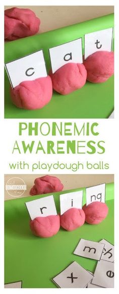 Phoenimic Awareness Educational Activity with Playdough Balls - this is such a great educational activity for Preschool PreK Kindergarten grade grade and grade kid to teach phonics Spelling Activities, Literacy Activities, Educational Activities, Literacy Centers, Listening Activities, Reading Centers, Educational Websites, Learning Resources, Teaching Phonics