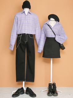Kpop Fashion Outfits, Ulzzang Fashion, Cute Fashion, Korea Fashion, Asian Fashion, Purple Outfits, Cute Outfits, Matching Couple Outfits, Matching Couples