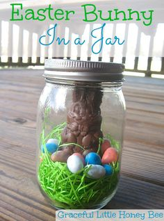 Easter Bunny in a Jar Tutorial - Graceful Little Honey Bee Jar Crafts, Easter Crafts, Crafts For Kids, Easter Ideas, Easter Decor, Spring Crafts, Holiday Crafts, Holiday Fun, Holiday Ideas