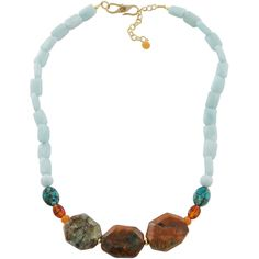 Art Smith by BARSE Faceted Multi Gemstone Necklace (81 CAD) ❤ liked on Polyvore featuring jewelry, necklaces, no color, boho jewelry, gem jewelry, gemstone necklaces, bohemian necklaces and faceted necklace