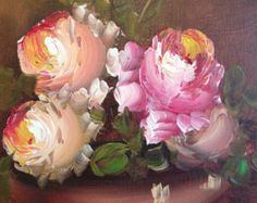 Oil Painting - Vintage Oil on Canvas Flower Painting by A. Silver - Pink and Yellow Flowers in Oil - Vintage Frames Oil Painting of FLowers