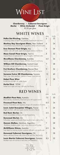 wine list layout