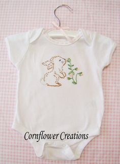 Bunny Love Hand Embroidered Onesie By Cornflowercreations On Etsy