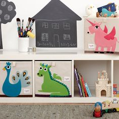 Store all those toys, extra blankets and books, with this fun & stylish Green Dragon 3 Sprouts storage box. Fits most cubby hole shelving units, such as the ikea bookcase. Add a pop of personality to any kids room.