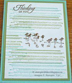"""By Bev. Uses stamps from """"Wetlands"""" and """"Gorgeous Grunge,"""" both by Stampin' Up."""