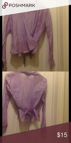 Silk & linen wrap top Anne Taylor silk and linen wrap top Tops Blouses