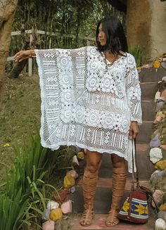 Boho White Crochet Free Flow Woman's Dress/Woman's Kaftan.