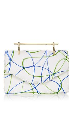 Indre in green & blue paint splashed calf leather by M2MALLETIER for Preorder on Moda Operandi