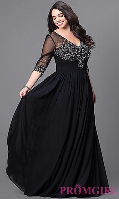Long Plus-Size V-Neck 3/4 Sleeve Prom Dress at PromGirl.com