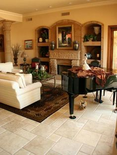 How would you like to make sweet music in this magnificent living room featuring Authentic Durango Veracruz pillow edge tile? www.durangostone.com