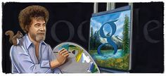 Google's homepage doodle today celebrates the 70th birthday of painter and TV star Bob Ross.