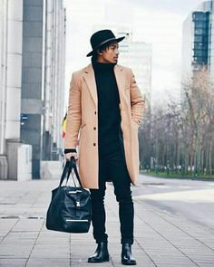 Men's Fashion Mensfashion Men's Style Casual Menswear Camel Trench Coat by Asos Black Turtle Neck by H&M Jeans by Zara Black Chelsea Boots by Mano Men's Bag by Zara European Fashioninsta Black Men Fashion Winterstyle Springstyle Men wide rim Hat Instagram@vanillachocolate0488 @fabuliss